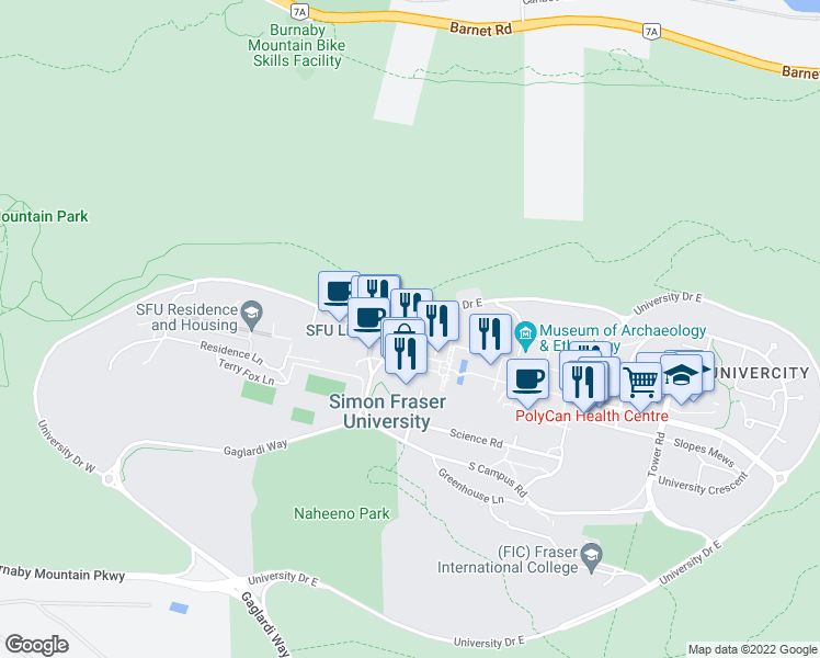 map of restaurants, bars, coffee shops, grocery stores, and more near 9060 University Drive East in Port Moody