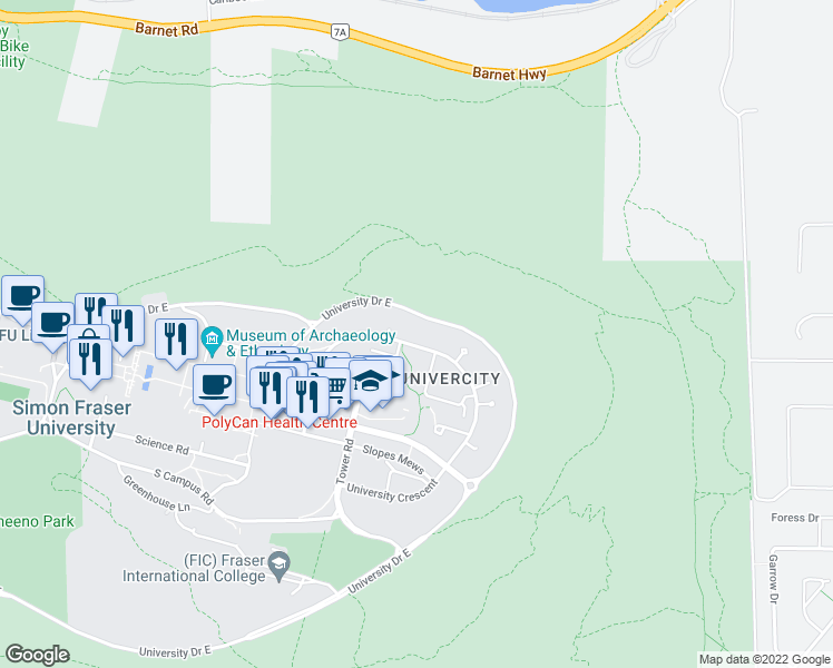 map of restaurants, bars, coffee shops, grocery stores, and more near 9188 University Crescent in Burnaby