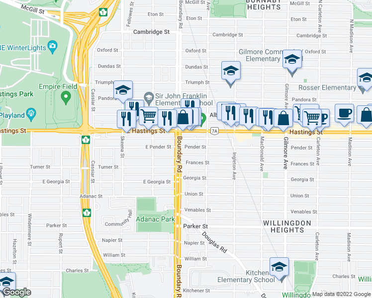 map of restaurants, bars, coffee shops, grocery stores, and more near 3712 Pender Street in Burnaby