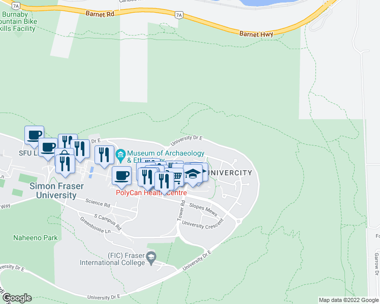 map of restaurants, bars, coffee shops, grocery stores, and more near 8940 University Crescent in Burnaby