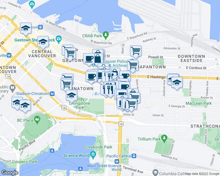 map of restaurants, bars, coffee shops, grocery stores, and more near 139 Keefer Street in Vancouver