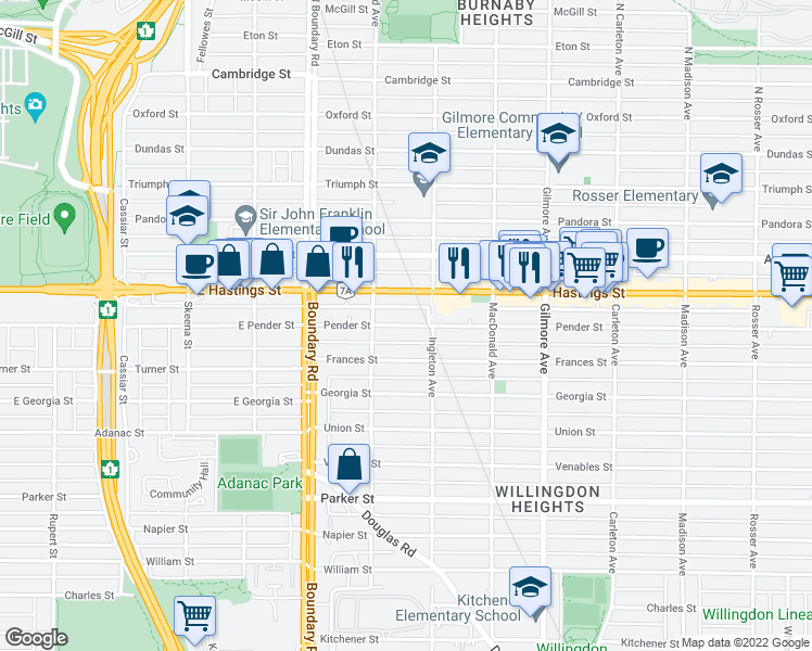 map of restaurants, bars, coffee shops, grocery stores, and more near 3868 Pender Street in Burnaby