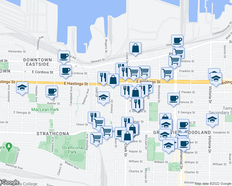 map of restaurants, bars, coffee shops, grocery stores, and more near 1220 East Pender Street in Vancouver