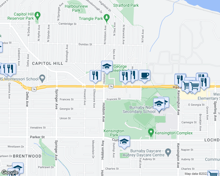map of restaurants, bars, coffee shops, grocery stores, and more near 5740 Hastings Street in Burnaby