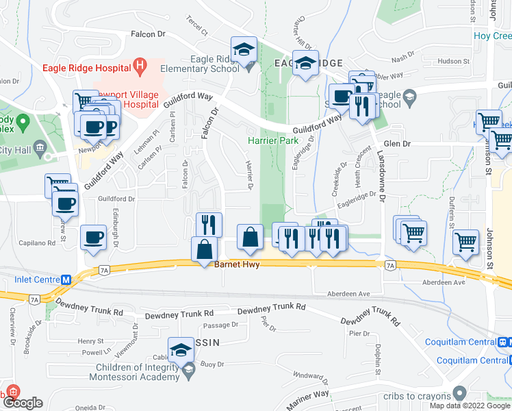 map of restaurants, bars, coffee shops, grocery stores, and more near 2571 Raven Court in Coquitlam