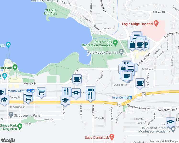 map of restaurants, bars, coffee shops, grocery stores, and more near 300 Klahanie Drive in Port Moody