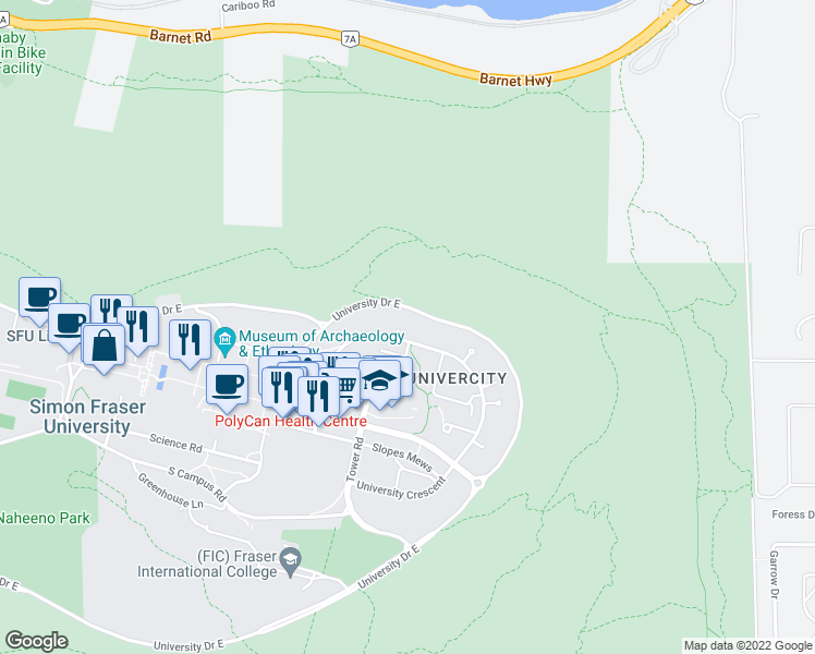map of restaurants, bars, coffee shops, grocery stores, and more near 9080 University Crescent in Burnaby