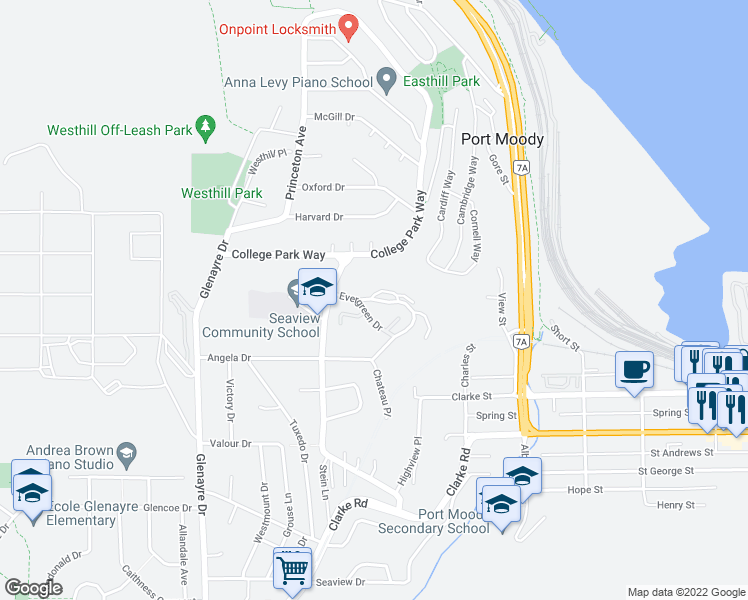 map of restaurants, bars, coffee shops, grocery stores, and more near 227 Evergreen Drive in Port Moody