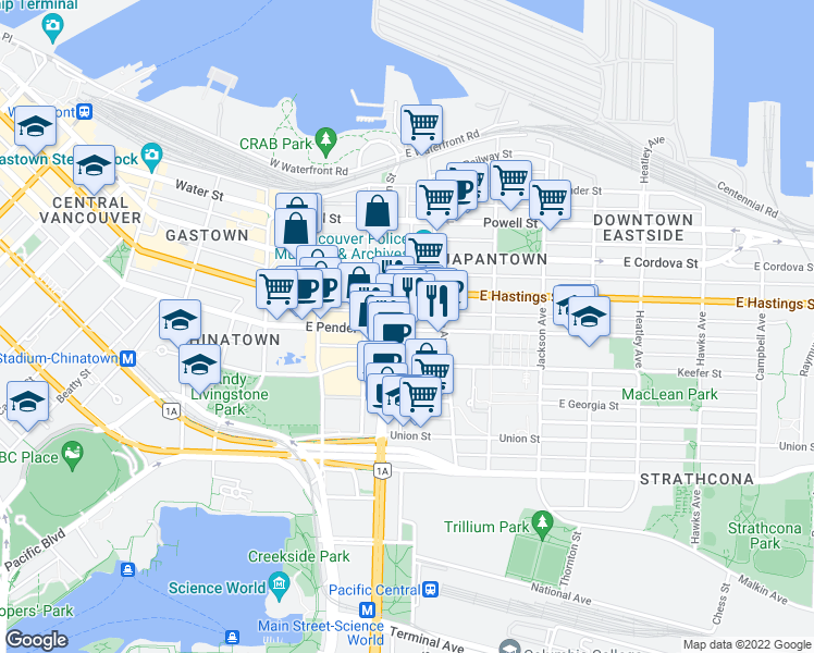 map of restaurants, bars, coffee shops, grocery stores, and more near 231 East Pender Street in Vancouver