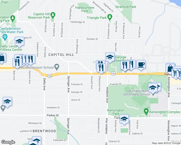 map of restaurants, bars, coffee shops, grocery stores, and more near 5450 Empire Drive in Burnaby