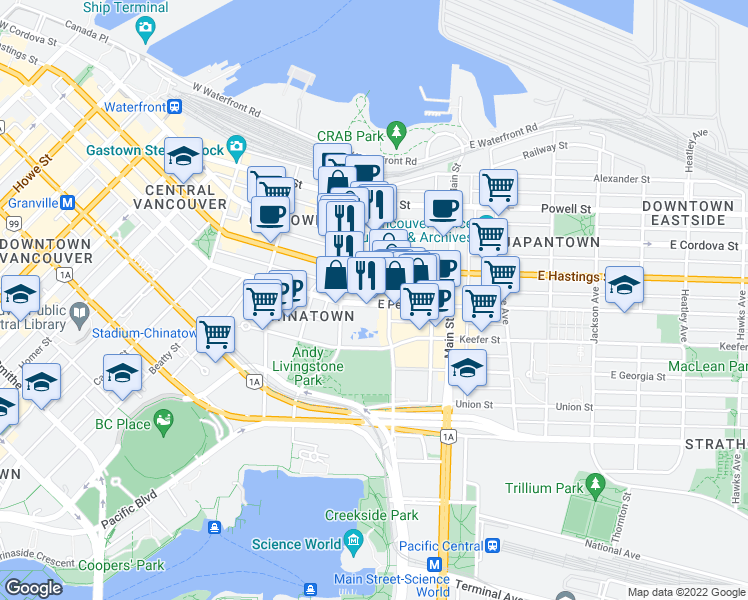 map of restaurants, bars, coffee shops, grocery stores, and more near 71 East Pender Street in Vancouver