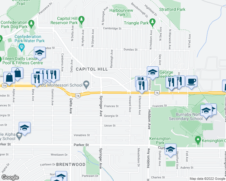 map of restaurants, bars, coffee shops, grocery stores, and more near 5335 Hastings Street in Burnaby