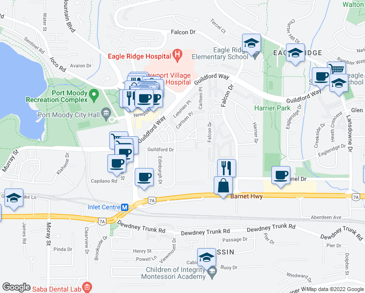 map of restaurants, bars, coffee shops, grocery stores, and more near 303 Highland Way in Port Moody