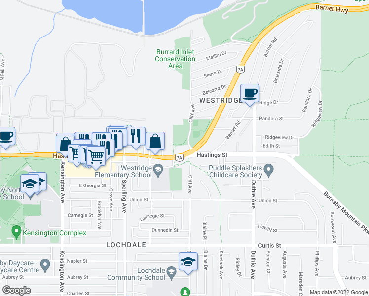 map of restaurants, bars, coffee shops, grocery stores, and more near 6965 Hastings Street in Burnaby