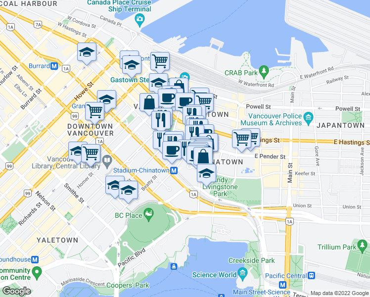 map of restaurants, bars, coffee shops, grocery stores, and more near 518 Beatty Street in Vancouver