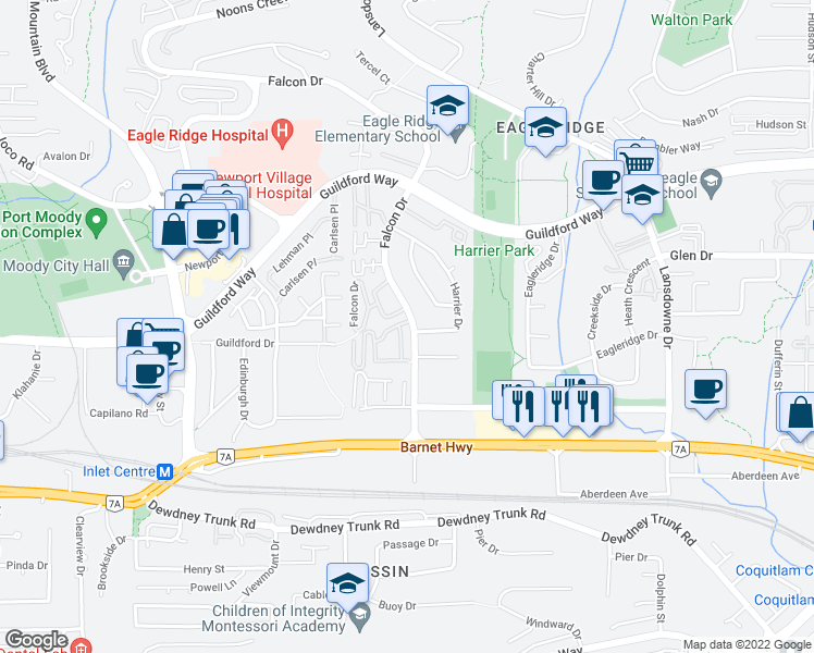 map of restaurants, bars, coffee shops, grocery stores, and more near 1140 Falcon Drive in Coquitlam