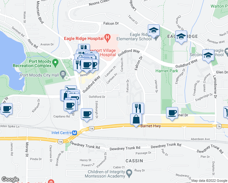 map of restaurants, bars, coffee shops, grocery stores, and more near 307 Highland Way in Port Moody