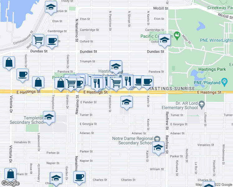 map of restaurants, bars, coffee shops, grocery stores, and more near 2636 East Hastings Street in Vancouver