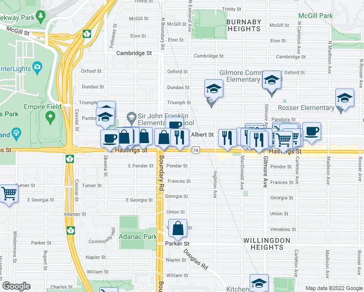 map of restaurants, bars, coffee shops, grocery stores, and more near 2265 Hastings Street in Burnaby