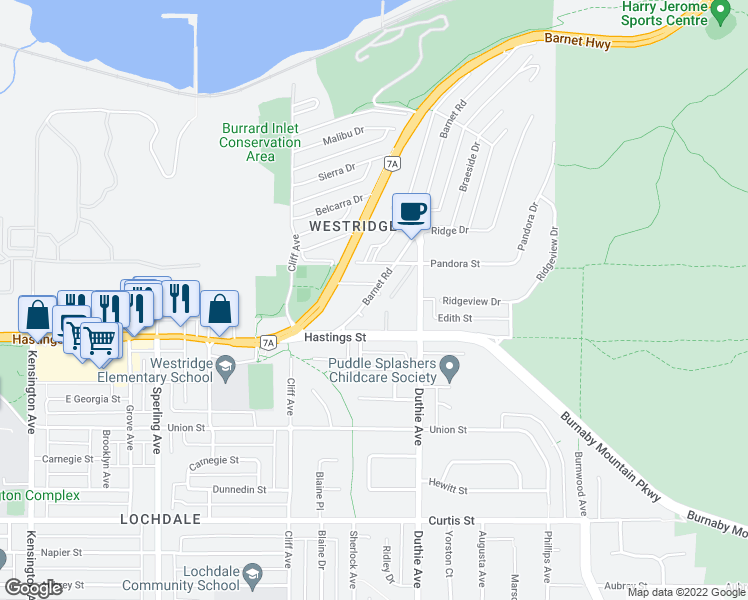 map of restaurants, bars, coffee shops, grocery stores, and more near 7150 Barnet Road in Burnaby