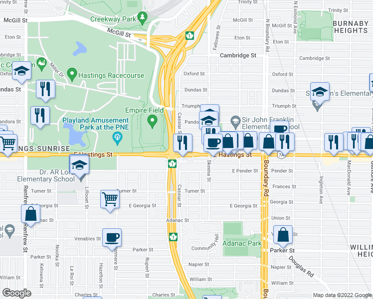map of restaurants, bars, coffee shops, grocery stores, and more near 3423 East Hastings Street in Vancouver
