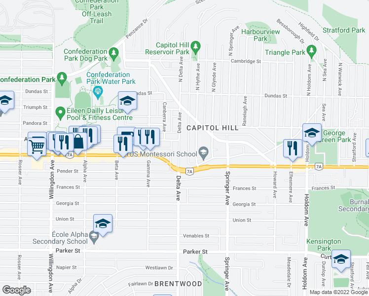 map of restaurants, bars, coffee shops, grocery stores, and more near 326 Delta Avenue in Burnaby