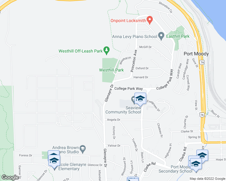 map of restaurants, bars, coffee shops, grocery stores, and more near 100 College Park Way in Port Moody