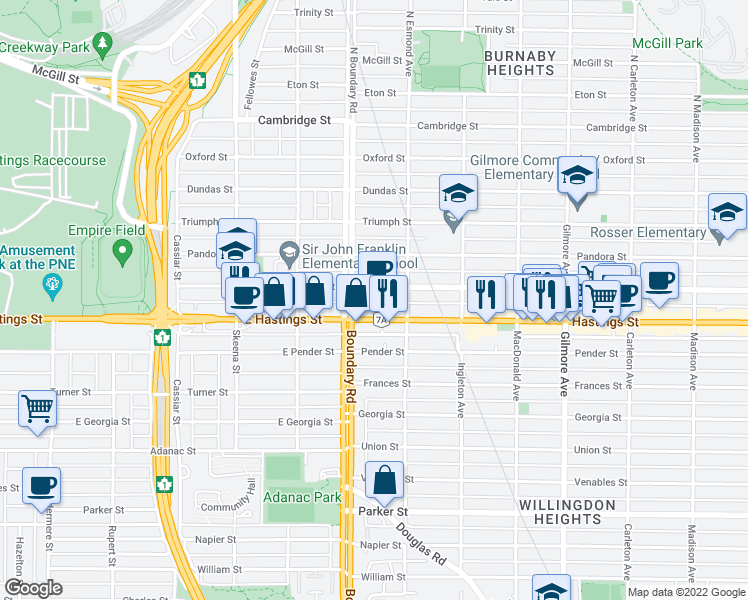 map of restaurants, bars, coffee shops, grocery stores, and more near 3740 Albert Street in Burnaby
