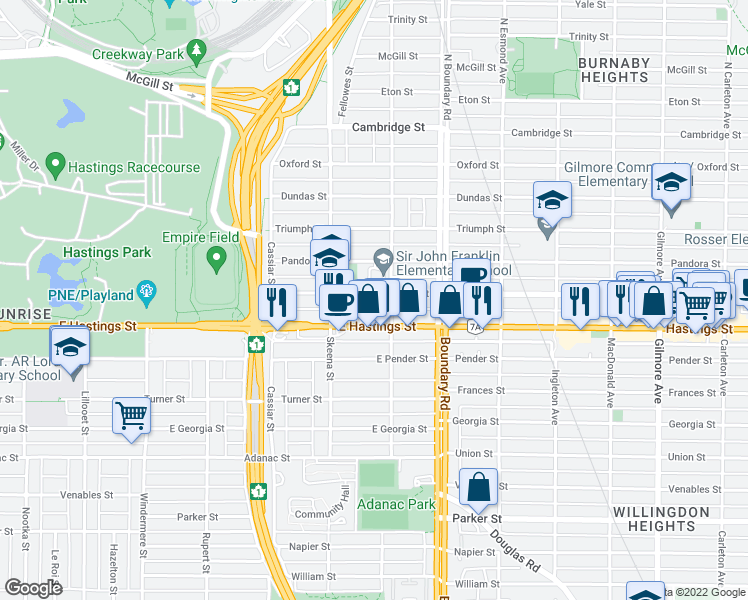 map of restaurants, bars, coffee shops, grocery stores, and more near 3580 Franklin Street in Vancouver