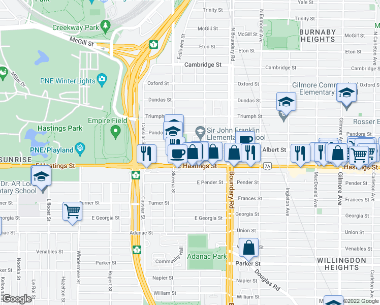 map of restaurants, bars, coffee shops, grocery stores, and more near 3556 Franklin Street in Vancouver