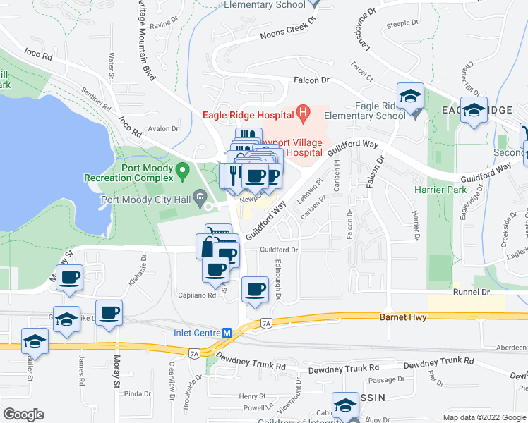 map of restaurants, bars, coffee shops, grocery stores, and more near 235 Guildford Way in Port Moody