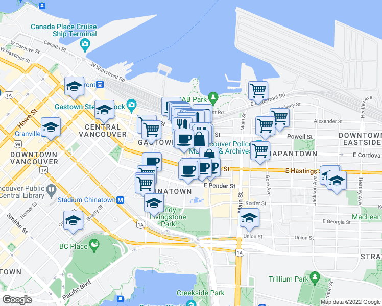 map of restaurants, bars, coffee shops, grocery stores, and more near 16 East Cordova Street in Vancouver
