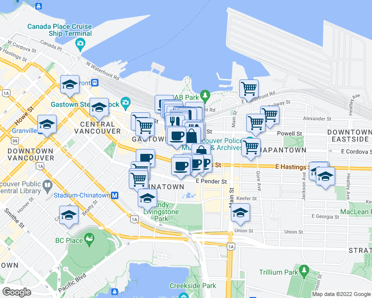 map of restaurants, bars, coffee shops, grocery stores, and more near 216 East Cordova Street in Vancouver