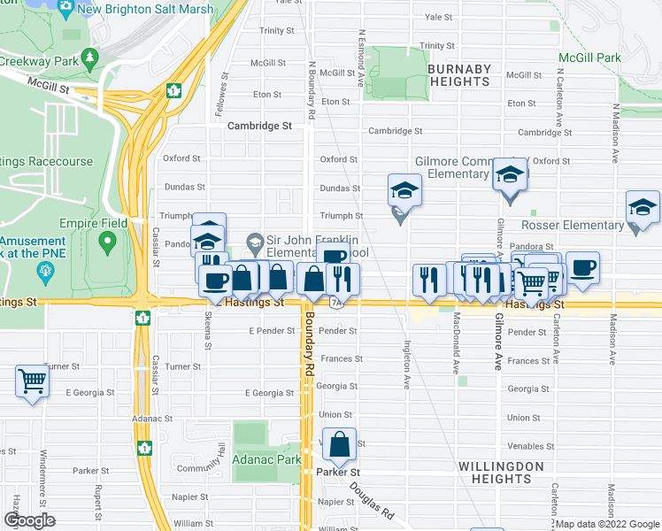 map of restaurants, bars, coffee shops, grocery stores, and more near 3755 Albert Street in Burnaby
