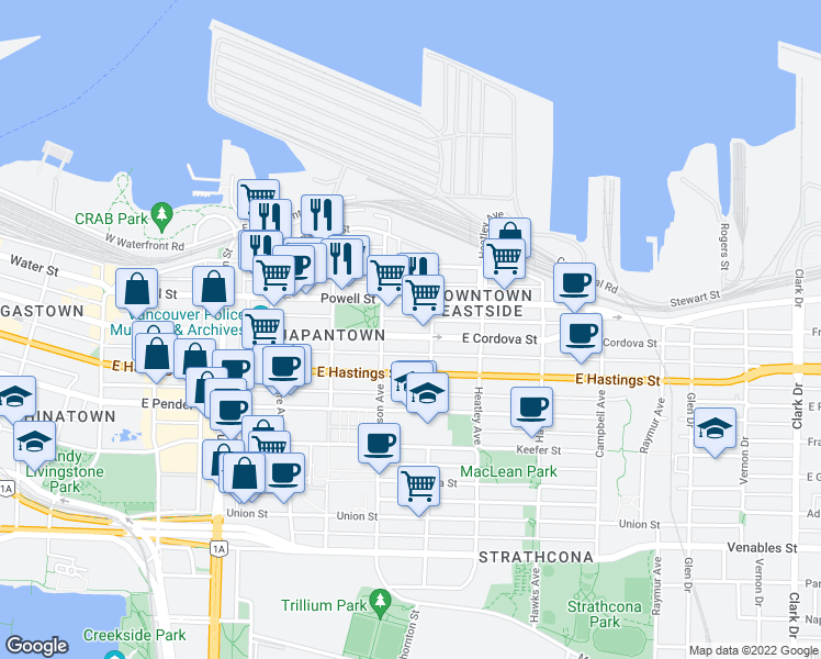 map of restaurants, bars, coffee shops, grocery stores, and more near 557 East Cordova Street in Vancouver