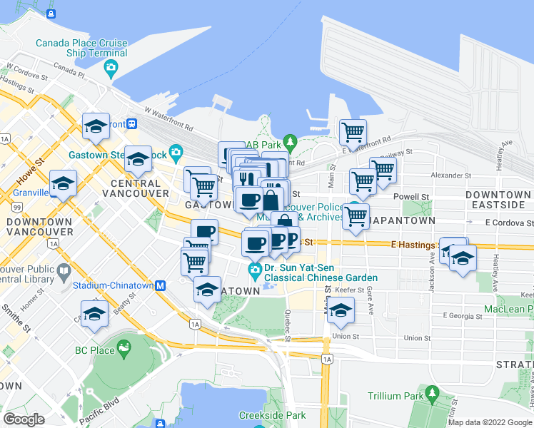 map of restaurants, bars, coffee shops, grocery stores, and more near 55 East Cordova Street in Vancouver