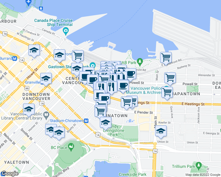 map of restaurants, bars, coffee shops, grocery stores, and more near 905 West Cordova Street in Vancouver