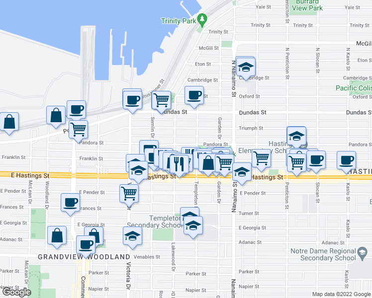 map of restaurants, bars, coffee shops, grocery stores, and more near 2150 Pandora Street in Vancouver