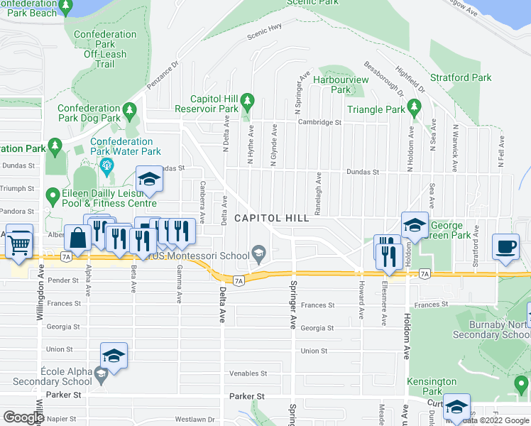 map of restaurants, bars, coffee shops, grocery stores, and more near 5095 Pandora Street in Burnaby