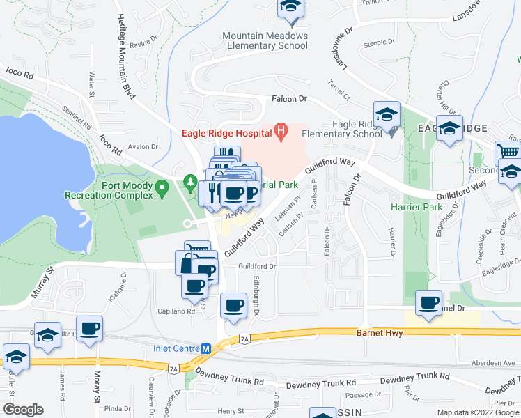 map of restaurants, bars, coffee shops, grocery stores, and more near 295 Guildford Way in Port Moody