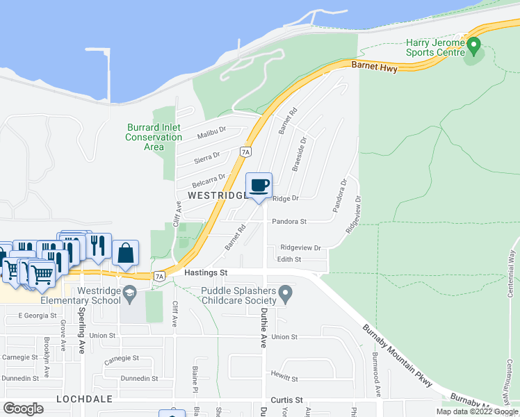 map of restaurants, bars, coffee shops, grocery stores, and more near 7198 Barnet Road in Burnaby