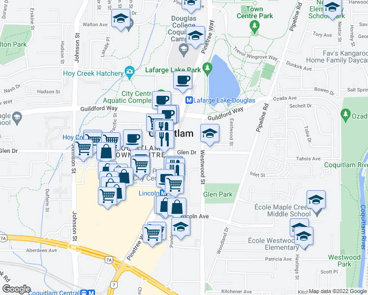 map of restaurants, bars, coffee shops, grocery stores, and more near 3031 Glen Drive in Coquitlam