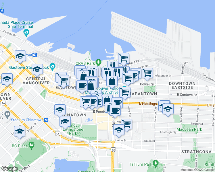 map of restaurants, bars, coffee shops, grocery stores, and more near 145 East Cordova Street in Vancouver