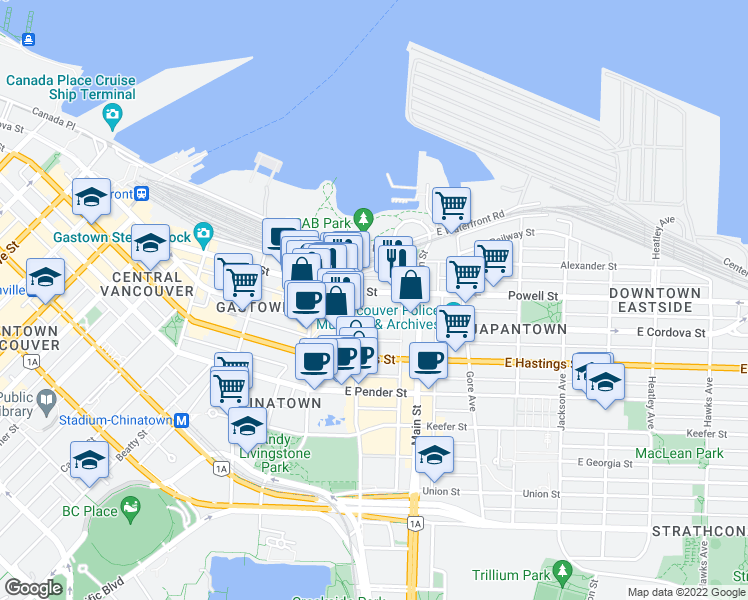 map of restaurants, bars, coffee shops, grocery stores, and more near 120 Powell Street in Vancouver