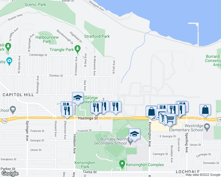 map of restaurants, bars, coffee shops, grocery stores, and more near 115 Fell Avenue in Burnaby