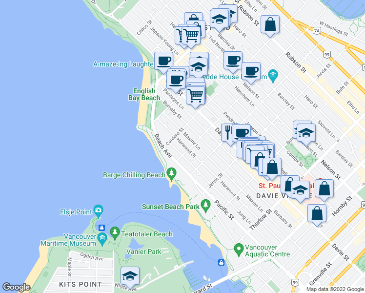 map of restaurants, bars, coffee shops, grocery stores, and more near 1520 Harwood Street in Vancouver