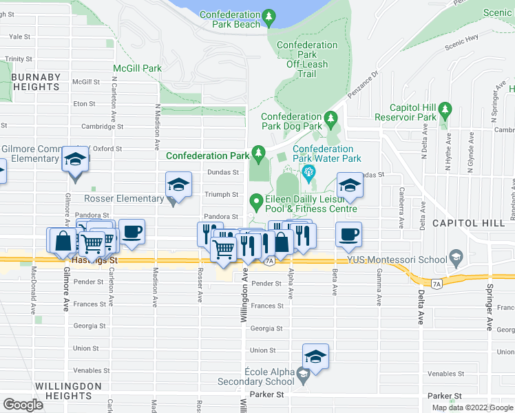 map of restaurants, bars, coffee shops, grocery stores, and more near 240 Willingdon Avenue in Burnaby