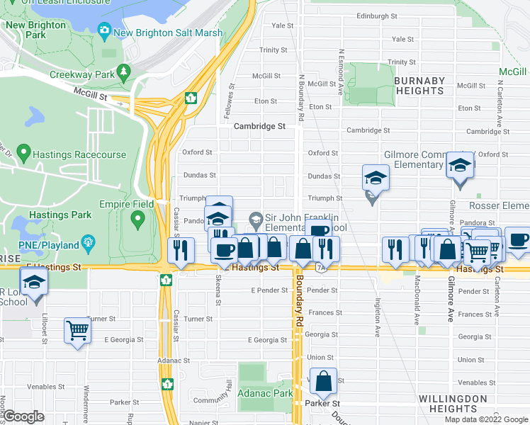 map of restaurants, bars, coffee shops, grocery stores, and more near 150 Kootenay Street in Vancouver