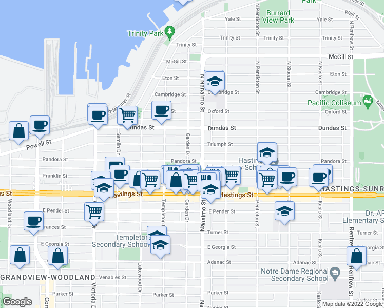 map of restaurants, bars, coffee shops, grocery stores, and more near 130 Garden Drive in Vancouver