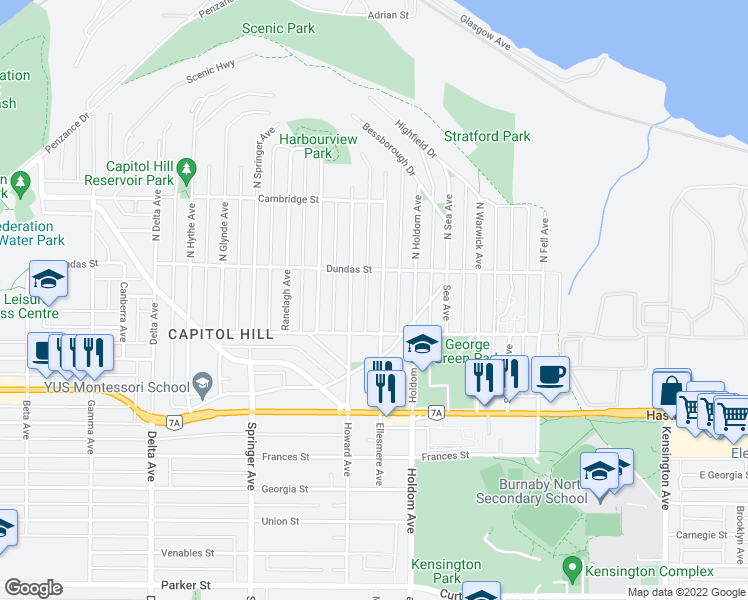 map of restaurants, bars, coffee shops, grocery stores, and more near 57 Ellesmere Avenue in Burnaby